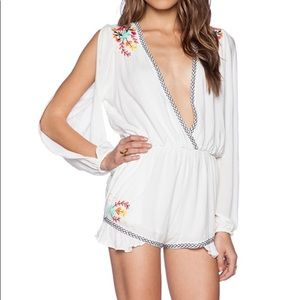 LOVERS + FRIENDS embroidered romper